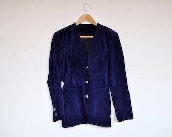 Vintage Royal Blue Suede Collarless Blazer Jacket