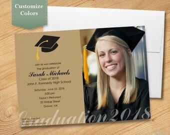 Photo Graduation Invitation, High School Graduation Invitation, College Graduation Invitation, Graduation Party Invitation, 2018
