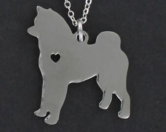 Akita Silhouette Necklace - Tiny Heart Cutout Stainless Charm on a FREE Plated Chain