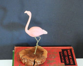 Vintage John Perry Pink Flamingo Sculpture- Pellucida Resin and Burlwood