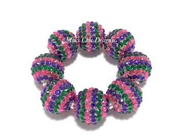 Baby, Toddler, Girls, Ladies All Bling Chunky bracelet - Hot Pink, Green and Purple Bracelet - Valentines Day Sparkle Bracelet - Spring