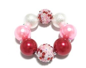 Toddler or Girls Valentine's Day Chunky Bracelet - Red, Pink and White Confetti chunky bracelet - Candy bracelet - Red Sparkle bracelet