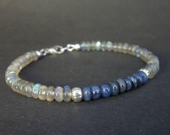 Blue Gemstone Sapphire and AA Labradorite Bracelet, 9.99 Hill Tribe Silver Bracelet, Sapphire Bracelet, Denim Bracelet, September Birthstone