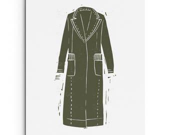 Modern Trench Coat - Wall Art - Fashion Illustration - Digitally Printed Wall Decor - Giclee Print - Black, Army Green