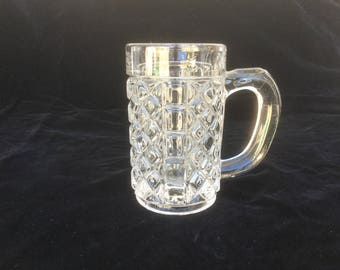 French Vintage Large bistro Glass 19th Handmade, mouth blowned Beer glass