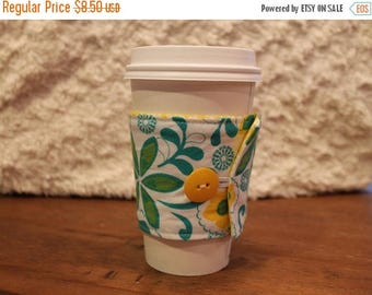 ON SALE Fabric Coffee Cozy, Yellow, Green and White Floral Cozie, Iced, Coffee Sleeve, travel cup cozy, gift, fits Starbucks to-go cup