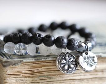 Tourmalinated Quartz Bracelet, Black, White, Gray, 8mm, Stretch Bracelet, Stacking Bracelet, Sterling Silver Charm, Flower Charm, Beaded