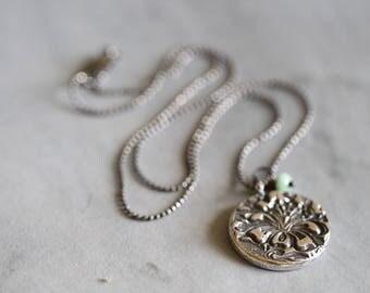 Botanical Charm Necklace, Sterling Silver, Flower Charm, Pendant, Rustic, Boho, 18 inch, Beaded Chain, Dezine Studio