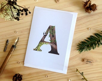 Forest Alphabet A Card - Initial Card