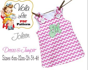 Girls A Line Dress Sewing Pattern, Baby Dress Pattern pdf. Girl's Jumper Pattern, Toddler Dress Pattern, Infant Dress Sewing Pattern. Joleen