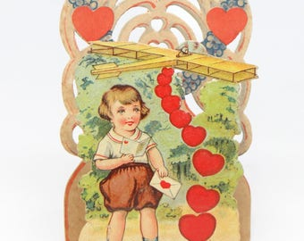 Antique German Valentine from the 1920's,  Heart Shaped Fold Out 3D Card, To My Valentine, Airplane