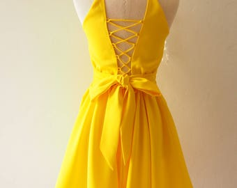 Cross Rope Dress Backless Dress Bright Yellow 1950 Dress Robe Vintage La La Land Style Dress Yellow Bridesmaid Dress Yellow Prom Dress