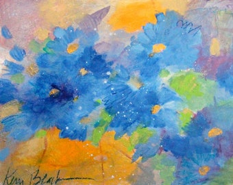 """Original Small Painting, Loose Abstract Floral, Colorful, Cheerful Artwork """"She Prefers Wildflowers"""" 8x10"""""""
