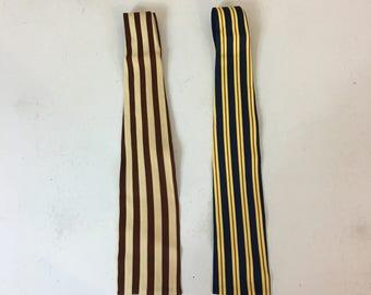 Vintage Mens Striped Ties Tricot Cavalier Set of 2