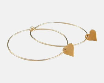 Gold Hoop 14kt Gold Fill Heart Earrings in Rose Gold and Yellow Gold