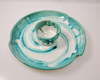 Ceramic Chip and Dip, Serving Dish or Appetizer Plate, Handmade
