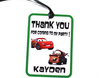 Set of 12 Thank You Party Favor Tags, Cars Personalized Birthday Party Favors Tags Thank You Gift Tags, Cars Party Supplies