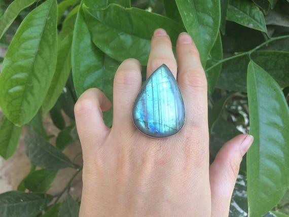 BESPOKE LABRADORITE RING - Limited edition- Sterling Silver Ring- Labradorite Ring- Chakra Ring- Statement Ring- Bohemian.