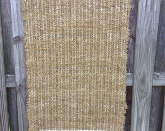 Hand Woven Brown Blanket Selvedge Rag Rug