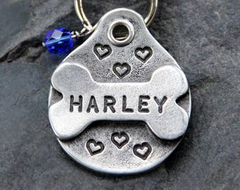 Unique Pet Tags Dog ID Tags Dog Tag Personalized Pet ID Tags Heart Dog Bone Pets Accessories Dog Collar Tags with Crystal Jewel