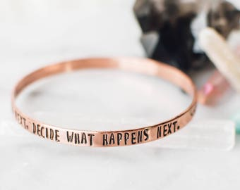 Don't wonder, decide what will happens next. Copper bangle with hamsa hand design. Yoga bracelet. Inspirational jewelry. Gift for her. BC004