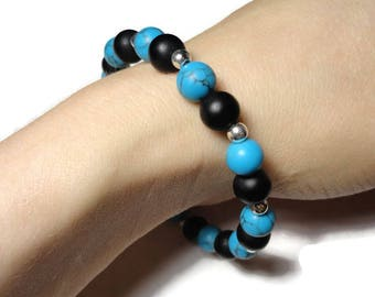 howlite stretch bracelet black blue and silver fits 6.95 inch wrist