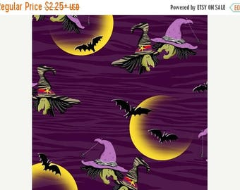 ON SALE Legend of Webb Hill by Henry Glass, Witch Fabric, Purple Fabric, Halloween Fabric, Harvest Fabric, 01479