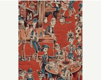 ON SALE Deadwood Saloon by Alexander Henry, Skeleton Fabric, Gothic Fabric, Skeleton Toile Fabric, 145554