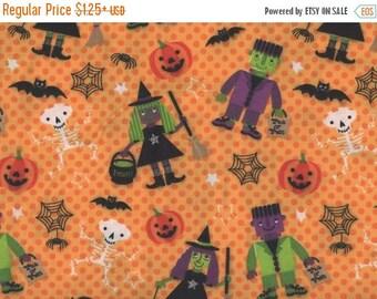 ON SALE Halloween, Witches, Frankenstein, Halloween Fabric, Black Fabric, Orange Polka Dot, 03026