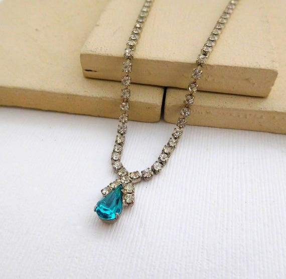 "Vintage 1950s Aqua Turquoise Clear Rhinestone Silver Tone 17"" Necklace SS18"
