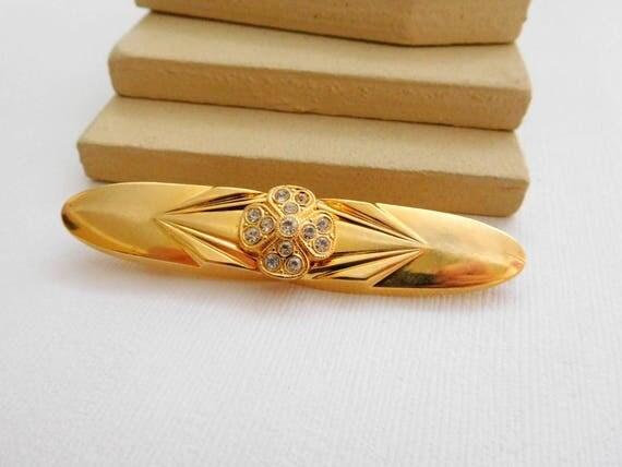 Retro Vintage Clear Rhinestone Flower Polished Gold Bar Brooch Pin UU2