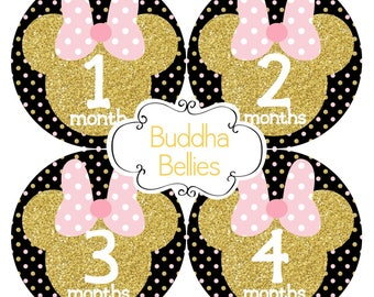 READY TO SHIP Mouse Ears and Glitter Baby Girl Monthly Stickers - Baby Month Stickers - Minnie Baby - Baby Girl Stickers - Baby Decals
