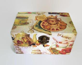 Decoupage Recipe Box -  100 Index Cards and Dividers - Small Recipe Box