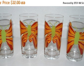 weekend sale Mod butterfly glassware set of 4 glasses  large pop art butterflies orange butterfly