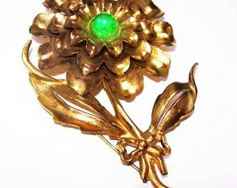 "Green Art Deco Flower Brooch Cabochons Tiered Gold Metal BIG 4"" Vintage"