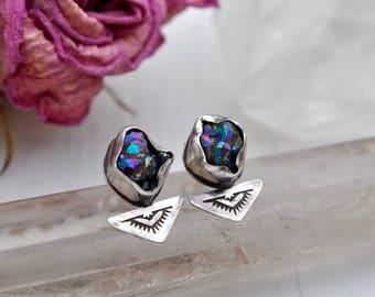 Dogon Earrings // Rainbow Titanium Citrine Nugget Stud Earrings