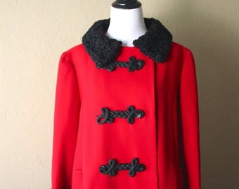 Clearance Sale Vintage Cherry Red Wool Coat with Persian Black Lamb Trim