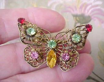 Beautiful Vintage Czech Filigree and Rhinestone Butterfly Brooch