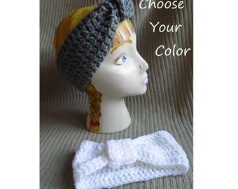 Knotted Headband, Tie Look, Bowtie Headband, Acrylic Headwear