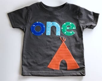 Happy Camper Boys First Birthday shirt camping happy camper teepee tent woodland wild one one bear