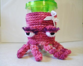pink octopus drink sleeve, drink sleeve, cold drink sleeve, octopus sleeve
