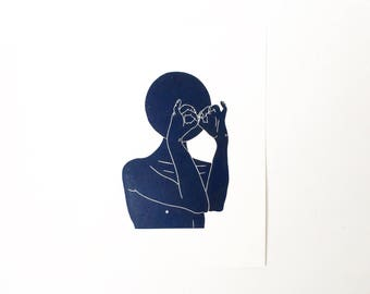 I Think I see You  //  Lino Print - Block Print - Modern Art - Linocut - Printmaking