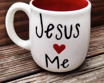 Jesus loves me! Hand painted mug.
