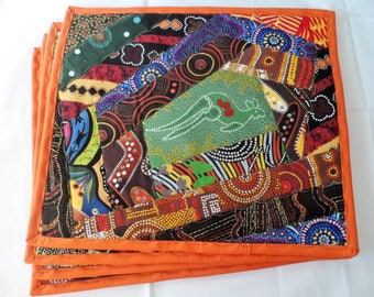 Quilted Australian Aboriginal Placemats - Quilted Placemats - Australian Table Placemats - Aboriginal Table Placemats - Indigenous Placemats