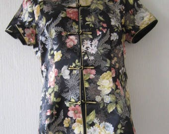Black Silky Floral Chinese Top