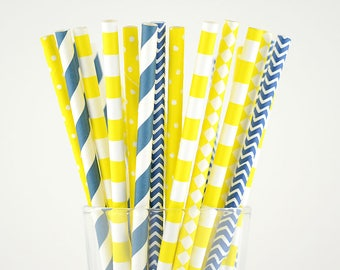 Navy Blue/Yellow Paper Straw Mix/Striped/Chevron/Diamond/Dots/Circle Straws/Party Decor/Cake Pop Sticks/Party Supplies/Wedding/Baby Shower