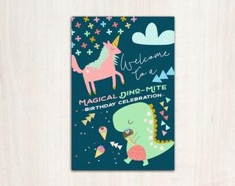 Dino Unicorn Welcome Poster - Dinosaur Unicorn Party Sign - Printable Supplies
