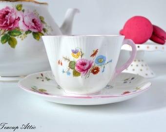 Shelley Teacup And Saucer Set Pink Trim, English Bone China Tea Cup, Wedding Gift, Fluted Teacup,  ca. 1945-1966