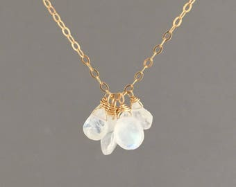 Five TEARDROP Moonstone Necklace Gold, Rose Gold, or Silver