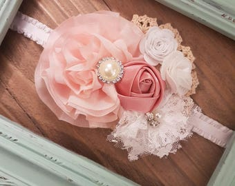 Shabby Chic Lace Headband, Baby Girl, Flower Girl, Headband, Wedding Headband, Baby Shower Gift, Vintage, Shabby Chic, Ruffle Headband.